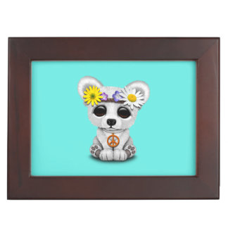 Cute Baby Polar Bear Cub Hippie Keepsake Box