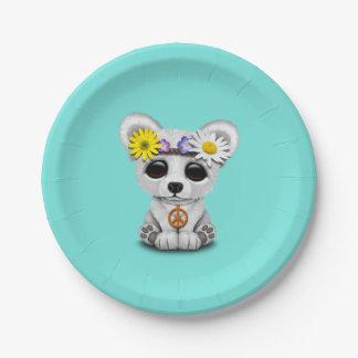 Cute Baby Polar Bear Cub Hippie Paper Plate