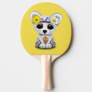 Cute Baby Polar Bear Cub Hippie Ping Pong Paddle