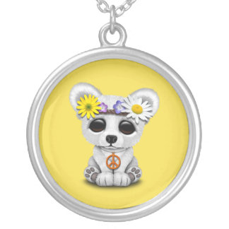 Cute Baby Polar Bear Cub Hippie Silver Plated Necklace