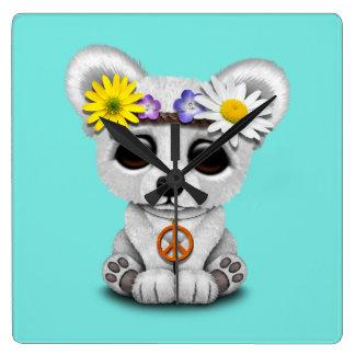 Cute Baby Polar Bear Cub Hippie Square Wall Clock