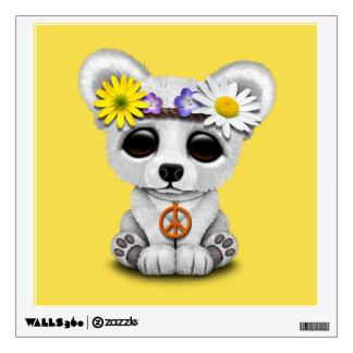 Cute Baby Polar Bear Cub Hippie Wall Sticker