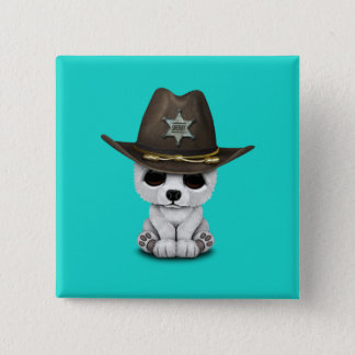 Cute Baby Polar Bear Cub Sheriff 2 Inch Square Button
