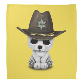 Cute Baby Polar Bear Cub Sheriff Bandanna