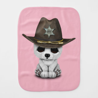 Cute Baby Polar Bear Cub Sheriff Burp Cloth