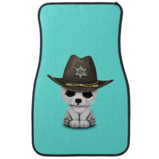 Cute Baby Polar Bear Cub Sheriff Car Mat