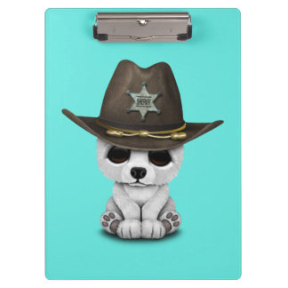 Cute Baby Polar Bear Cub Sheriff Clipboard