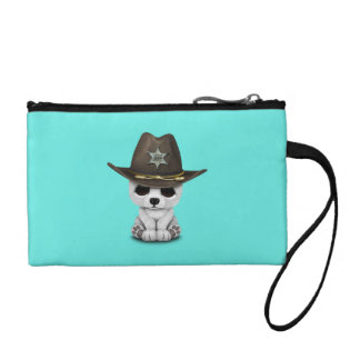 Cute Baby Polar Bear Cub Sheriff Coin Wallet