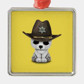 Cute Baby Polar Bear Cub Sheriff Metal Ornament