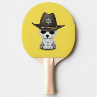 Cute Baby Polar Bear Cub Sheriff Ping Pong Paddle