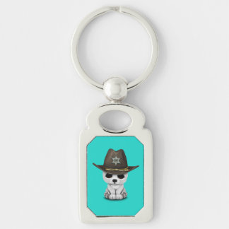 Cute Baby Polar Bear Cub Sheriff Silver-Colored Rectangle Keychain