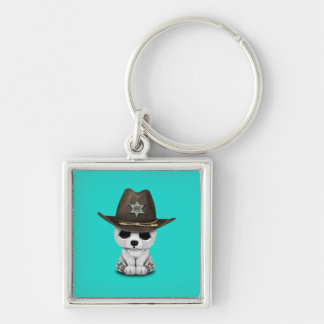 Cute Baby Polar Bear Cub Sheriff Silver-Colored Square Keychain