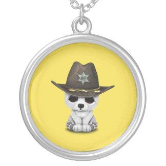 Cute Baby Polar Bear Cub Sheriff Silver Plated Necklace
