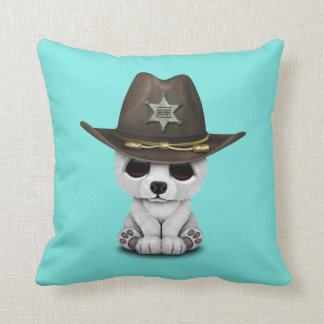 Cute Baby Polar Bear Cub Sheriff Throw Pillow