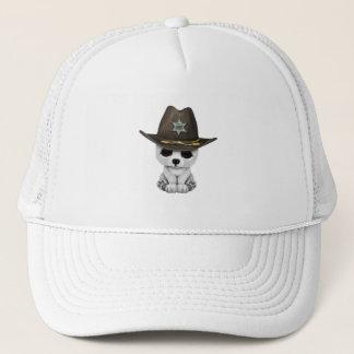 Cute Baby Polar Bear Cub Sheriff Trucker Hat