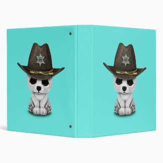 Cute Baby Polar Bear Cub Sheriff Vinyl Binder