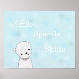 Cute Baby Polar Bear Nursery Art Poster Pastel
