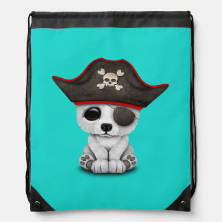 Cute Baby Polar Bear Pirate Drawstring Bag