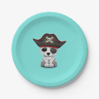 Cute Baby Polar Bear Pirate Paper Plate