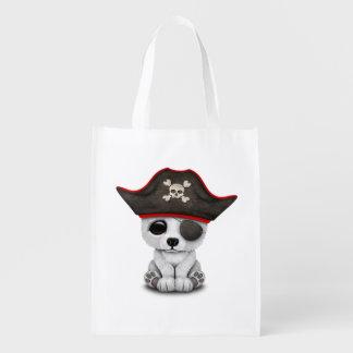 Cute Baby Polar Bear Pirate Reusable Grocery Bag