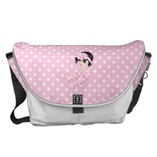 Cute Baby Polka Dot Pink White Diaper Nappy Commuter Bags