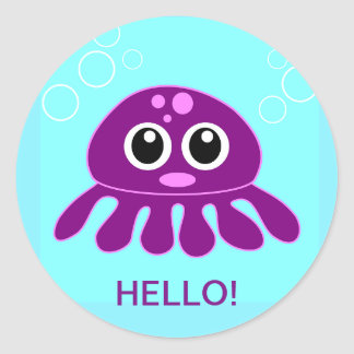 Cute Baby Purple Octopus Personalized Sticker