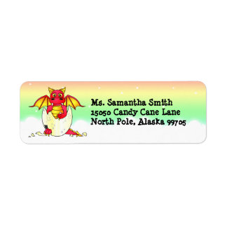 Cute Baby Red Dragon in Egg Return Address Label
