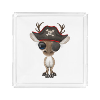 Cute Baby Reindeer Pirate Acrylic Tray