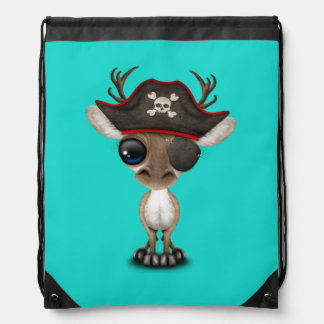 Cute Baby Reindeer Pirate Drawstring Bag