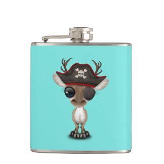 Cute Baby Reindeer Pirate Hip Flask