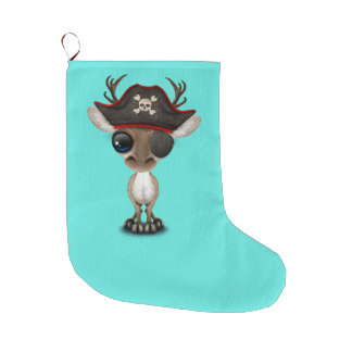Cute Baby Reindeer Pirate Large Christmas Stocking