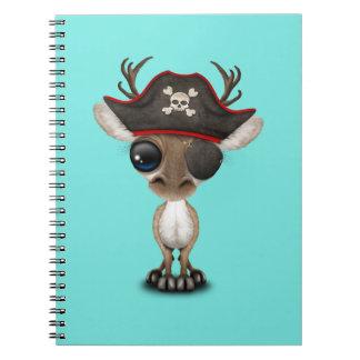 Cute Baby Reindeer Pirate Spiral Notebook