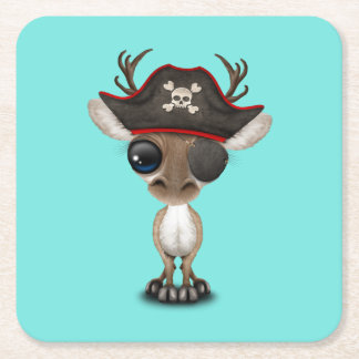 Cute Baby Reindeer Pirate Square Paper Coaster