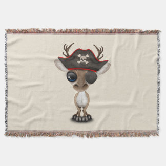 Cute Baby Reindeer Pirate Throw Blanket