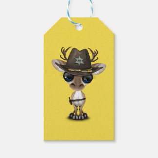 Cute Baby Reindeer Sheriff Pack Of Gift Tags