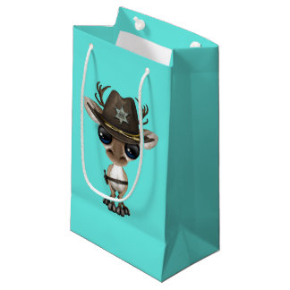 Cute Baby Reindeer Sheriff Small Gift Bag