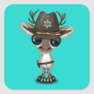 Cute Baby Reindeer Sheriff Square Sticker