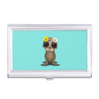 Cute Baby Sea Lion Hippie Business Card Holder