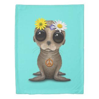 Cute Baby Sea Lion Hippie Duvet Cover
