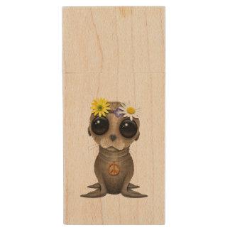 Cute Baby Sea Lion Hippie Wood USB Flash Drive