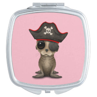 Cute Baby Sea lion Pirate Compact Mirrors