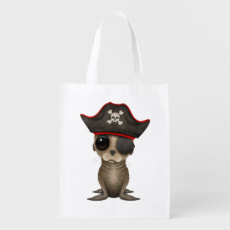 Cute Baby Sea lion Pirate Reusable Grocery Bag