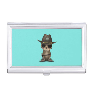 Cute Baby Sea Lion Sheriff Business Card Holder