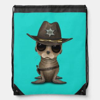 Cute Baby Sea Lion Sheriff Drawstring Bag