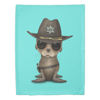 Cute Baby Sea Lion Sheriff Duvet Cover