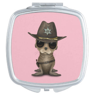Cute Baby Sea Lion Sheriff Makeup Mirror