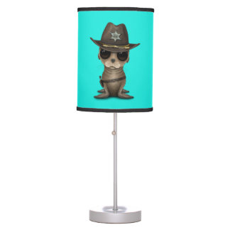 Cute Baby Sea Lion Sheriff Table Lamp