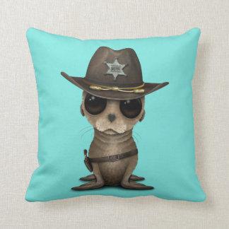 Cute Baby Sea Lion Sheriff Throw Pillow