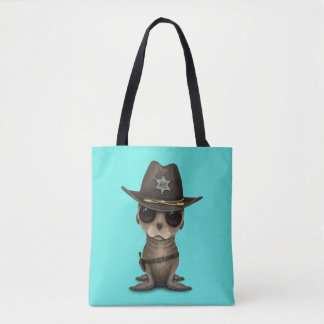 Cute Baby Sea Lion Sheriff Tote Bag