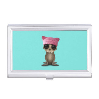 Cute Baby Sea Lion Wearing Pussy Hat Business Card Holder